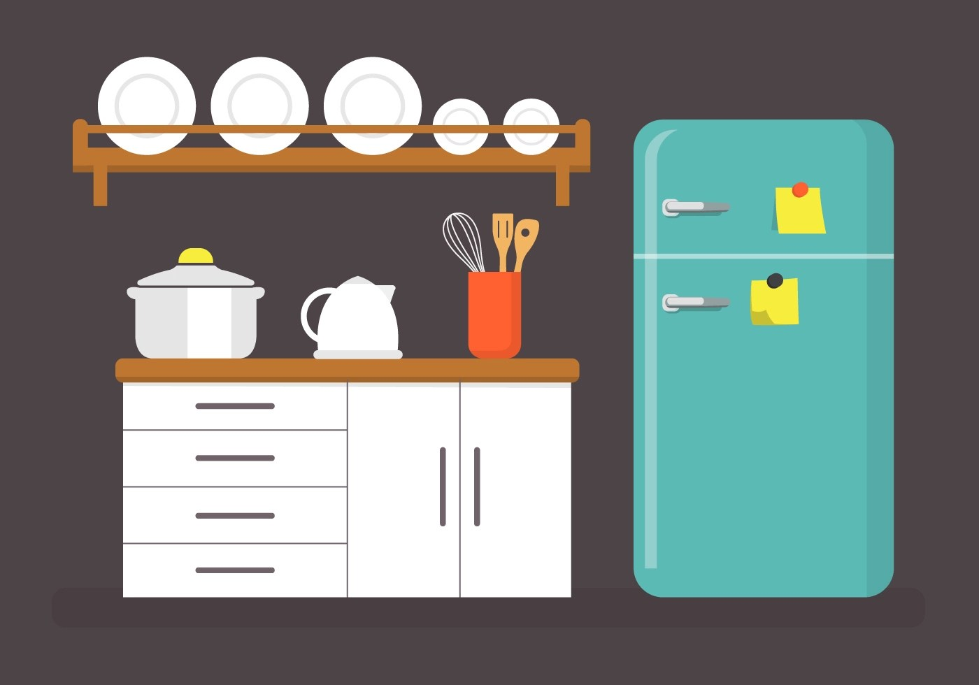 Cliparts Küche Gratis Flat Kitchen Vector Illustration Download Free Vector