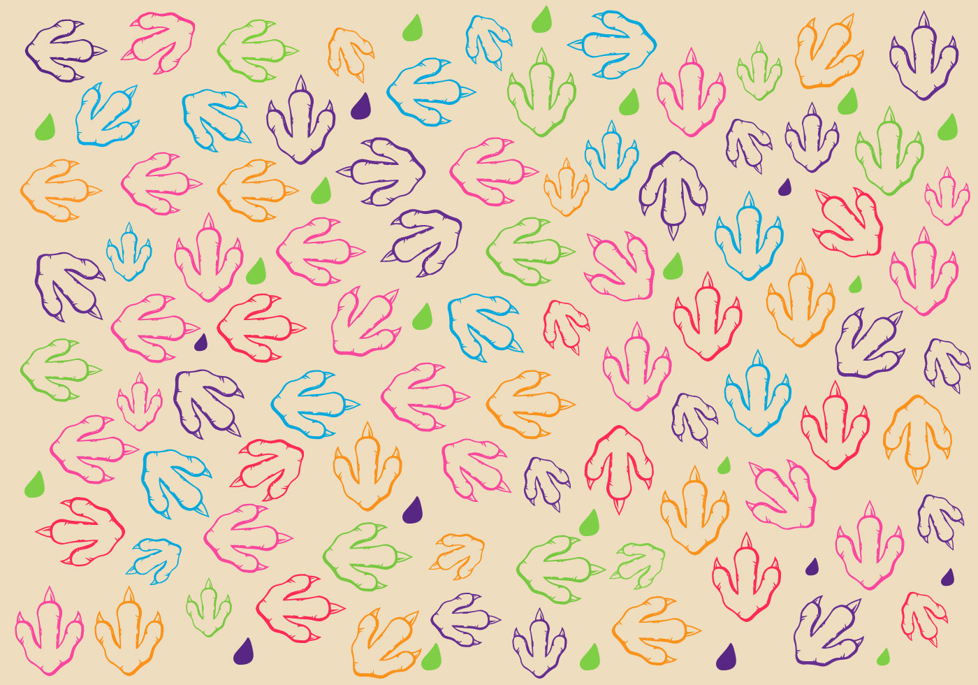 Cute Paw Print Wallpaper Free Dinosaur Footprint Pattern Vector Download Free