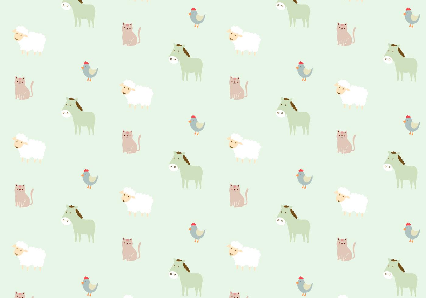 Cute Cartoon Horse Wallpaper Farm Animals Pattern Background Download Free Vector Art