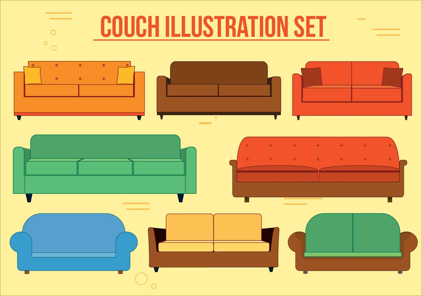 Sofa Set Vector Free Download Couch Vector Set Download Free Vector Art Stock Graphics Images