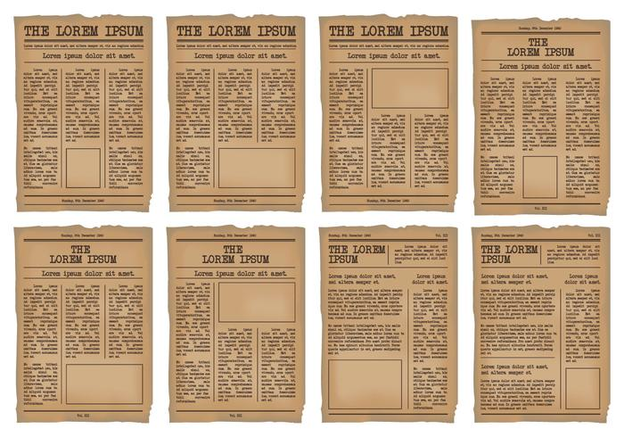 Old Newspaper Template vector set - Download Free Vector Art, Stock - old newspaper template