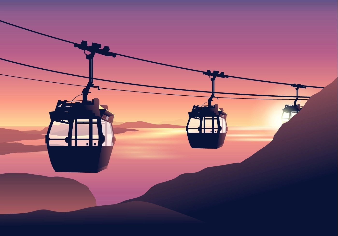 Free Falling Snow Wallpaper Download Cable Car At Sunset Vector Download Free Vector Art