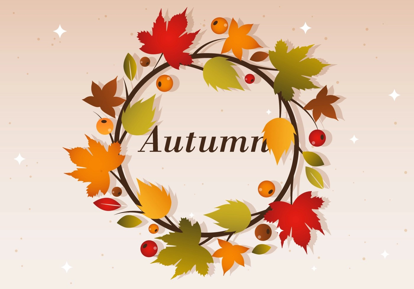 Fall Harvest Wallpaper Free Autumn Vector Wreath Illustration Download Free