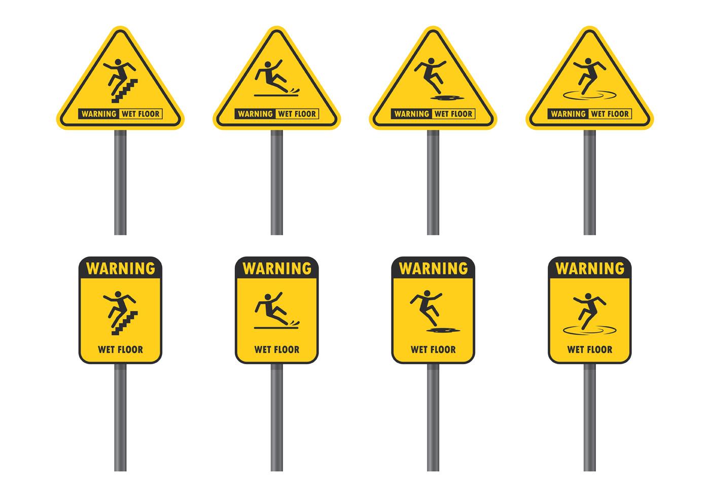 Warning Sign For Wet Floor Download Free Vector Art