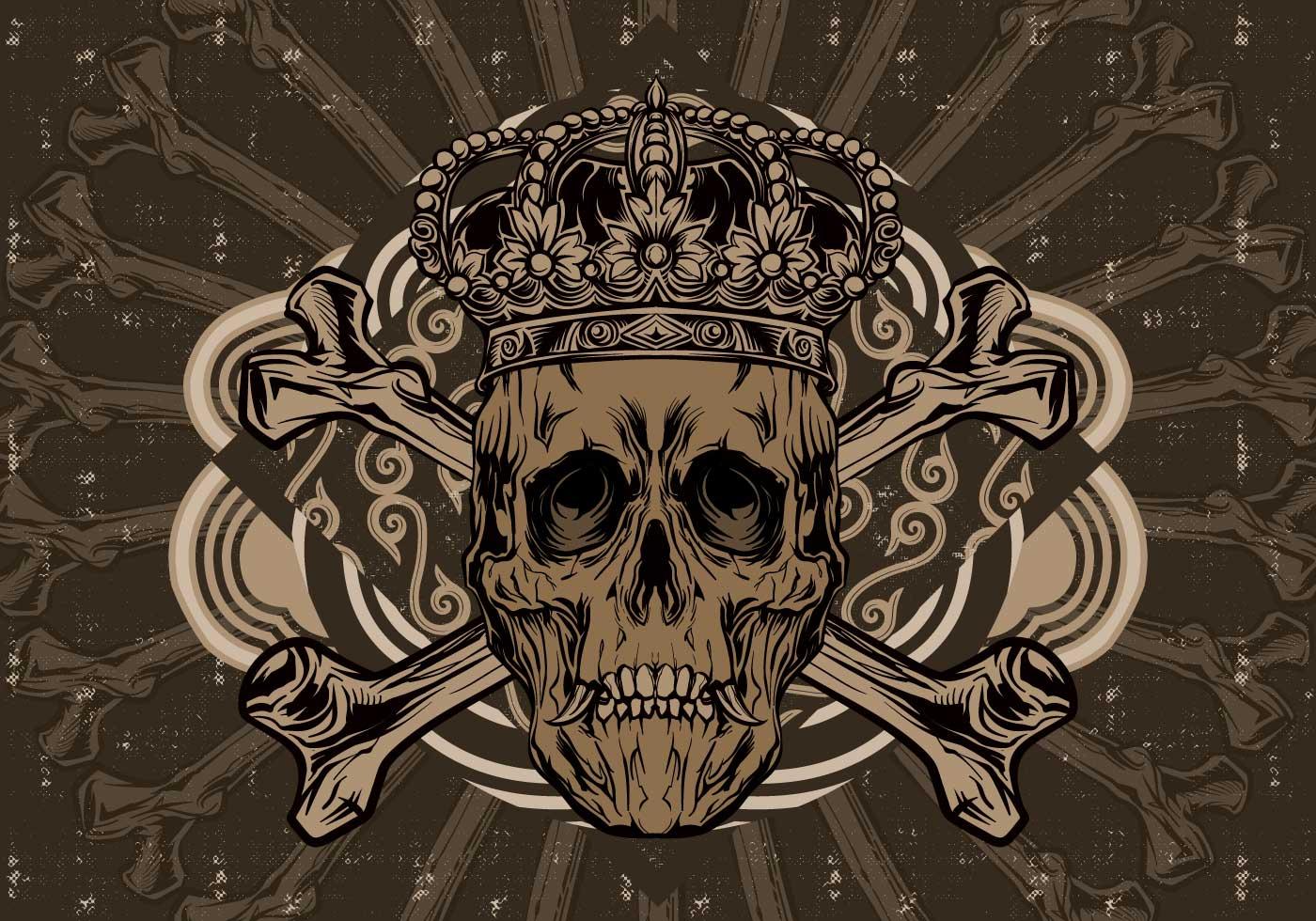 Skeleton Pattern Wallpaper Cute Crown Skull Vector Download Free Vector Art Stock