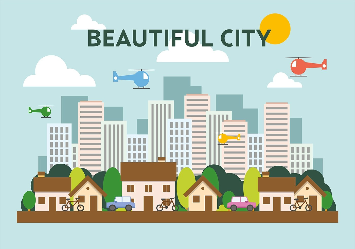 Mumbai City Wallpaper Hd Suburban Flat Cityscape Vector Illustration Download