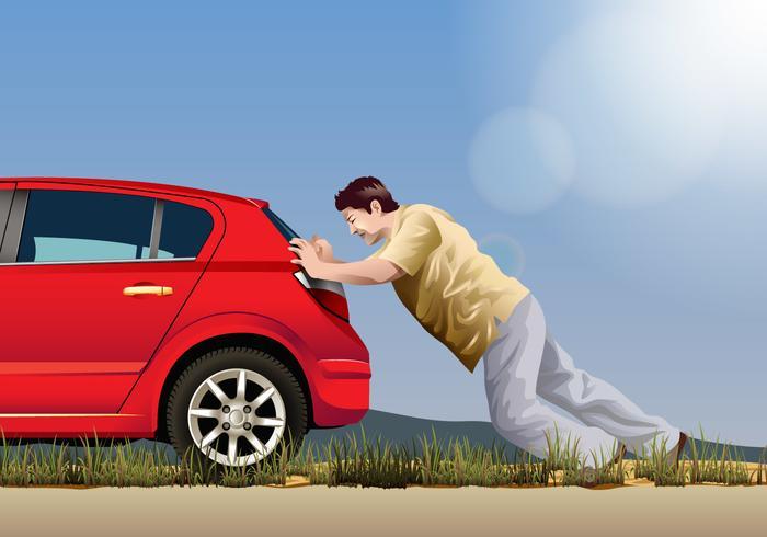 Vector Man Pushing A Car Download Free Vector Art Stock