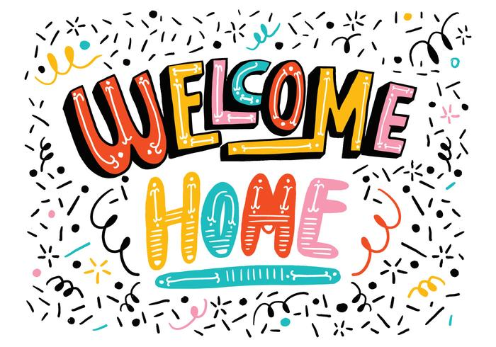 Bright Welcome Home Lettering - Download Free Vector Art, Stock