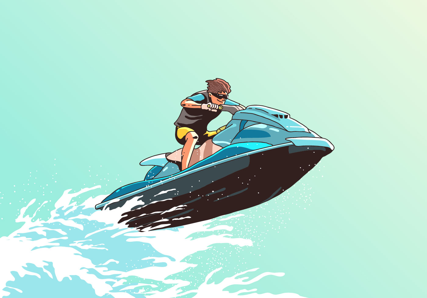 Gratis Jet Ski Wave Jumping Jet Ski Vector Download Free Vector Art