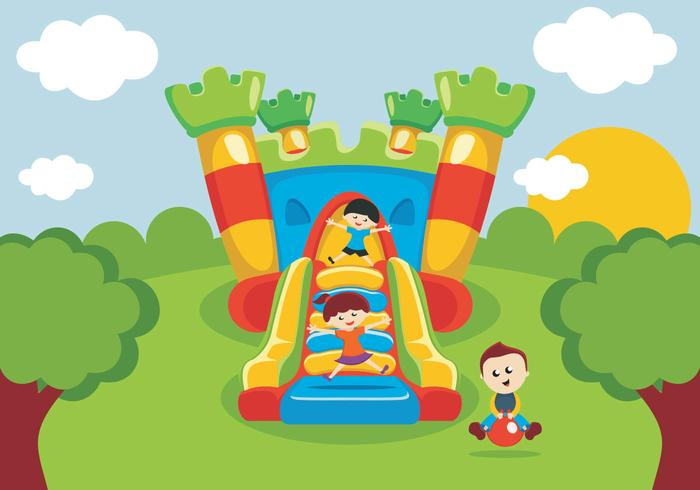 Kids Have Fun On Bounce House - Download Free Vector Art, Stock - bounce house flyer template