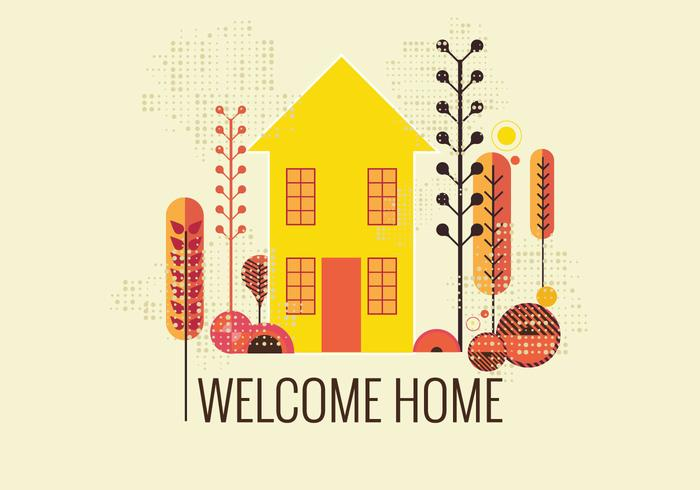 Retro Style Welcome Home Vector - Download Free Vector Art, Stock