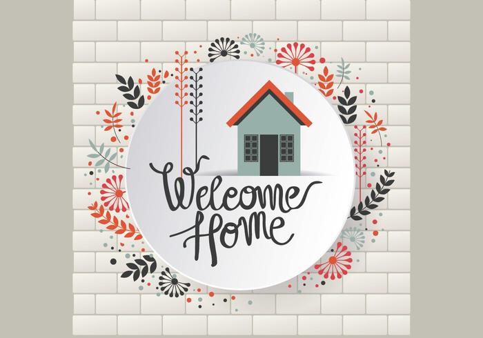Floral Welcome Home Sign Vector - Download Free Vector Art, Stock