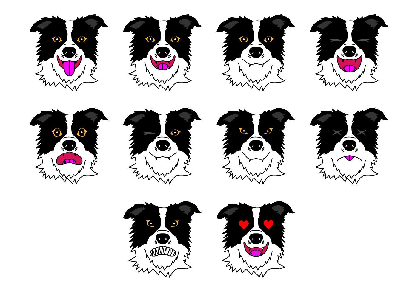 Emoticons Cute Wallpaper Free Border Collie Emoticon Vector Download Free Vector
