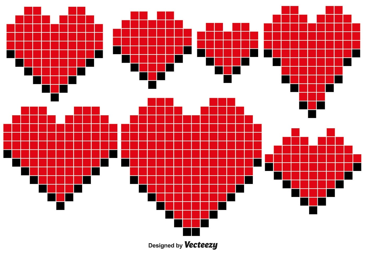 3d Love Red Heart Wallpaper Pixel Heart Vector 4181 Free Downloads