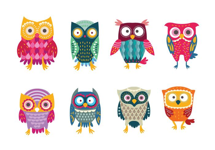 Cute Owl Cartoon Wallpaper Cute Amp Colorful Stylized Buho Owls Download Free Vector