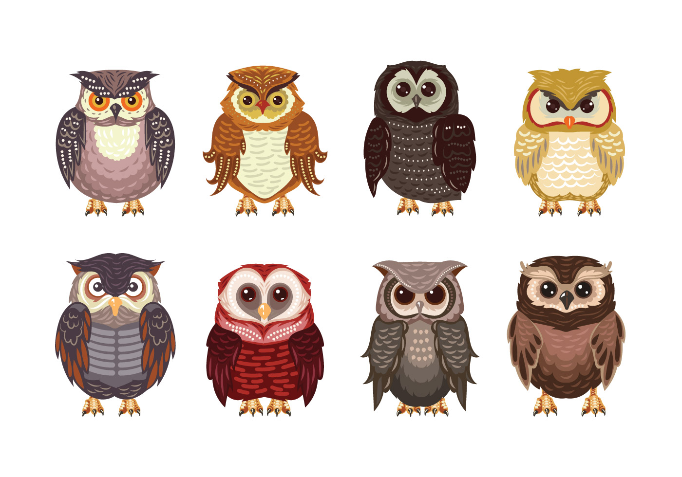 Cute Cartoon Animal Wallpaper Owl Or Buho Theme Collection Download Free Vector Art