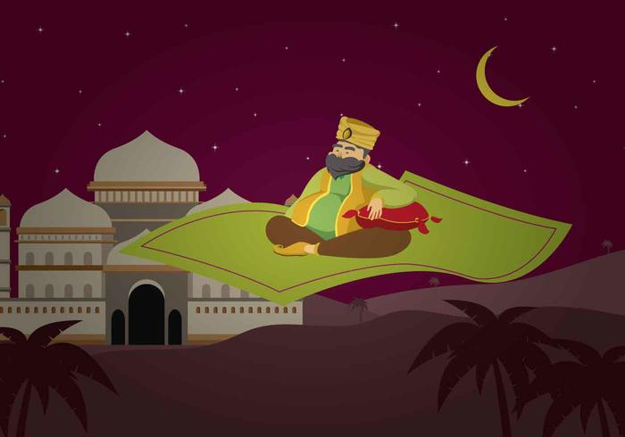 Free Sultan Riding Magic Carpet Illustration Download