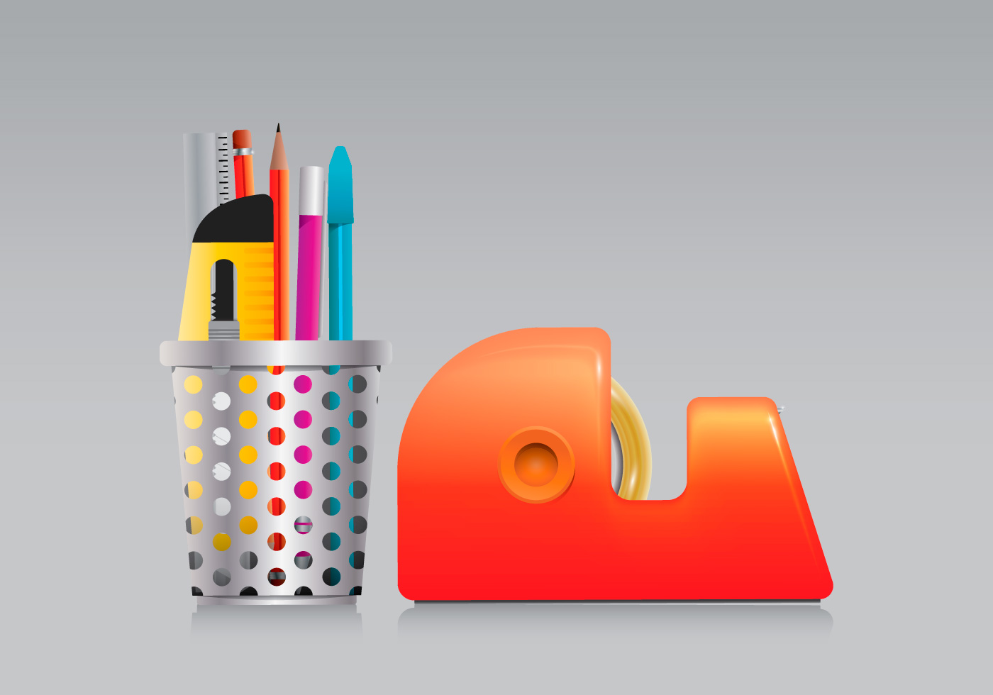 Pen And Holder Set Pen Holder And Tape Set In Realist Style Download Free