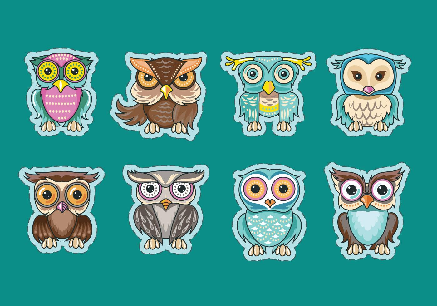 Cute Wedding Cartoon Wallpaper Set Of Cute Owls Or Buhos Sticker Vectors Download Free