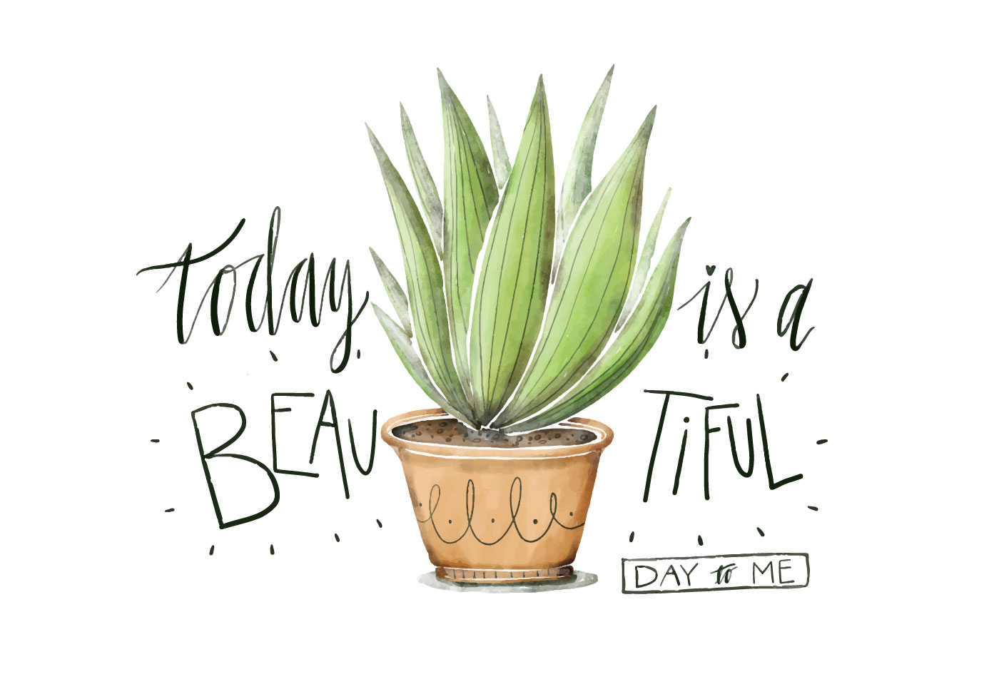 Cute Pinterest Quote Wallpapers Cute Plant Illustration Watercolor With Lettering Quote