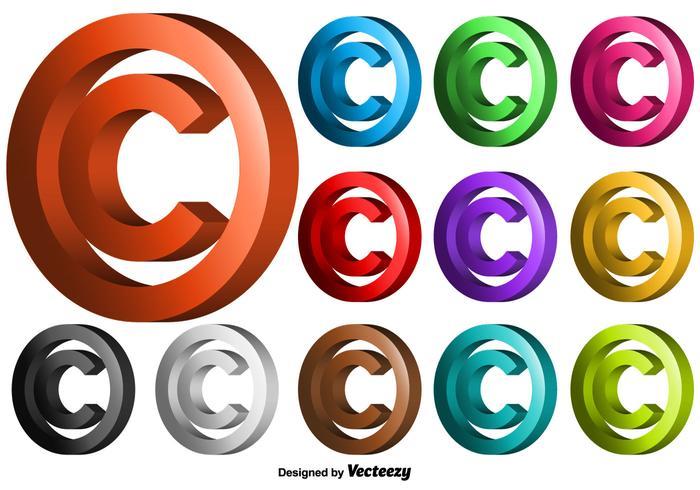 Vector 3D Copyright Symbol Set - Download Free Vector Art, Stock