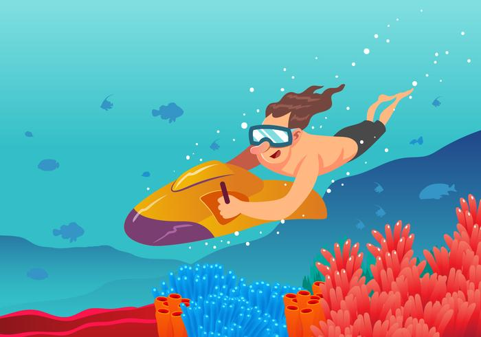 Unterwasser Jet Ski Vektor Szene Kostenlose Vektor Kunst