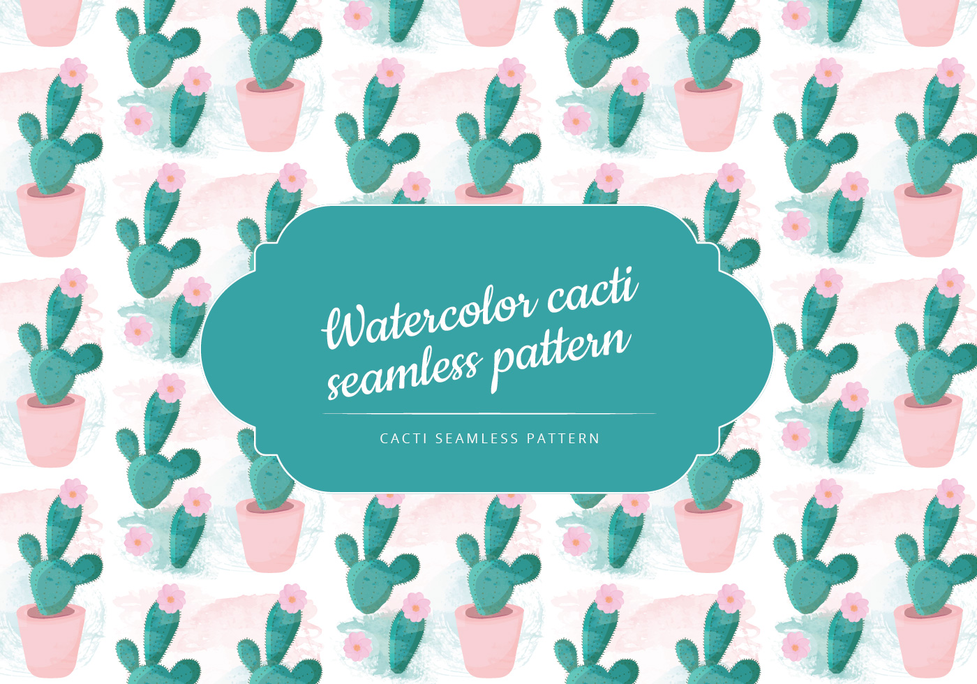 Vector Watercolor Cactus Pattern Telechargez De L39art