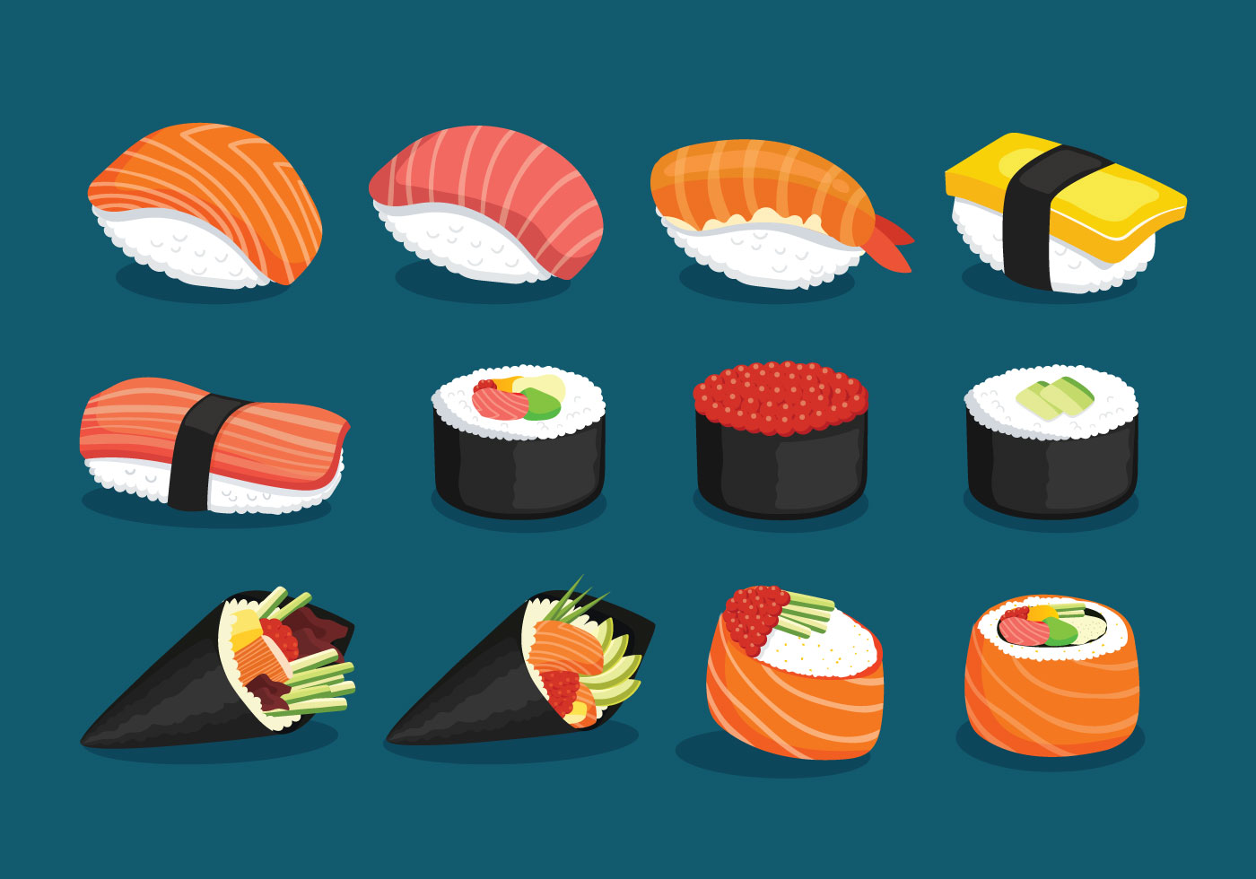 Cute Cartoon Sushi Wallpaper Variety Of Delicious Sushi Download Free Vector Art