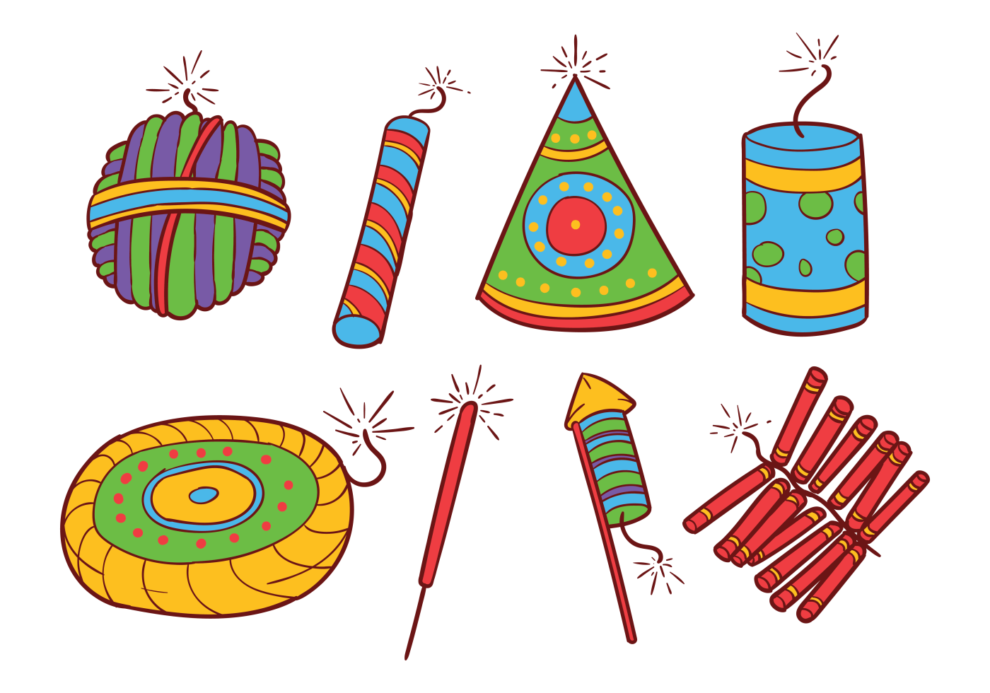 Diwali Crackers Png Diwali Fire Crackers Icons Vector Download Free Vector