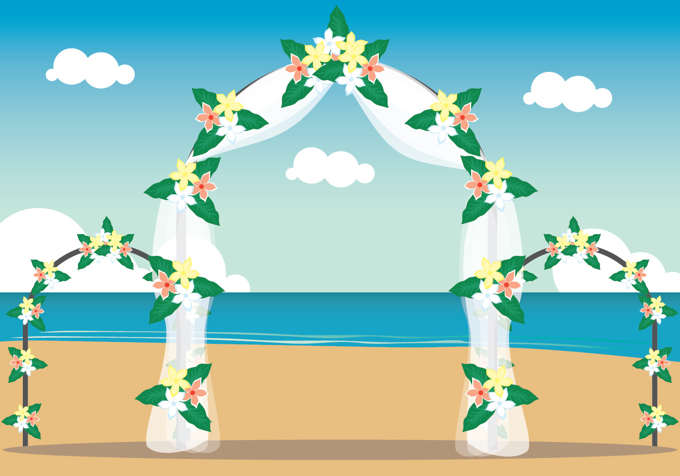 Cute Couple Holding Hand Wallpaper Beach Wedding Illustration Download Free Vector Art