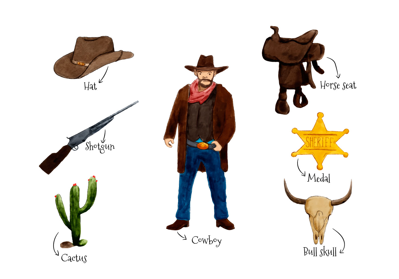 Wild West Elements Watercolor Style Download Free Vector