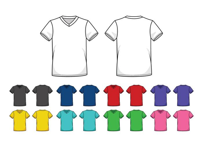 Set Of Colored V-Neck Shirts Templates - Download Free Vector Art
