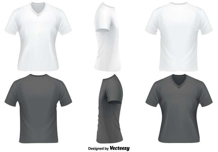 Vector Set Of V Neck T Shirts Template - Download Free Vector Art - t shirt template