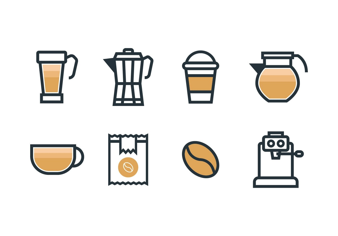 Coffee Art Maker Set Coffee Maker Set Icons Download Free Vector Art Stock