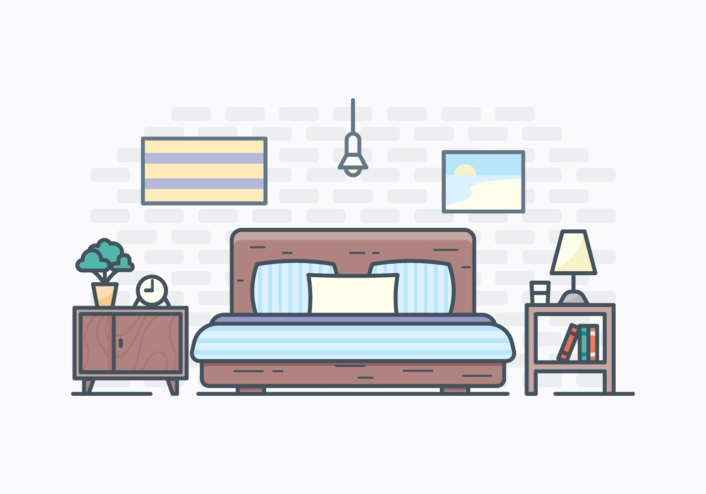 Simple Bed Free Simple Bedroom Illustration Download Free Vector Art Stock