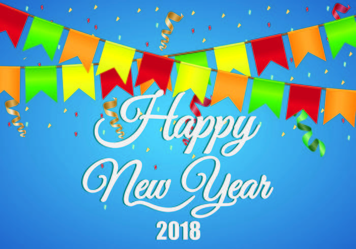 Background Of Happy New Year 2018 - Download Free Vector Art, Stock