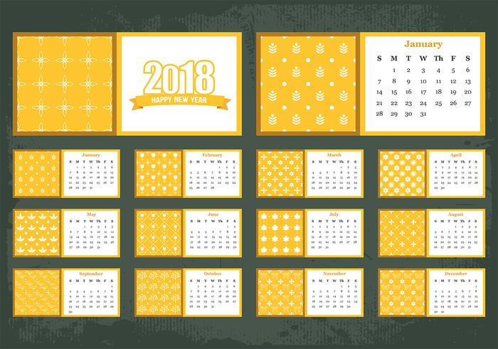 Vector Template Of Printable Monthly Calendar 2018 - Download Free