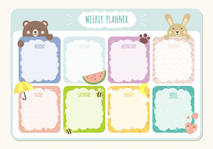 Printable Weekly Planner Calendar Template - Download Free Vector - Free Printable Weekly Planner
