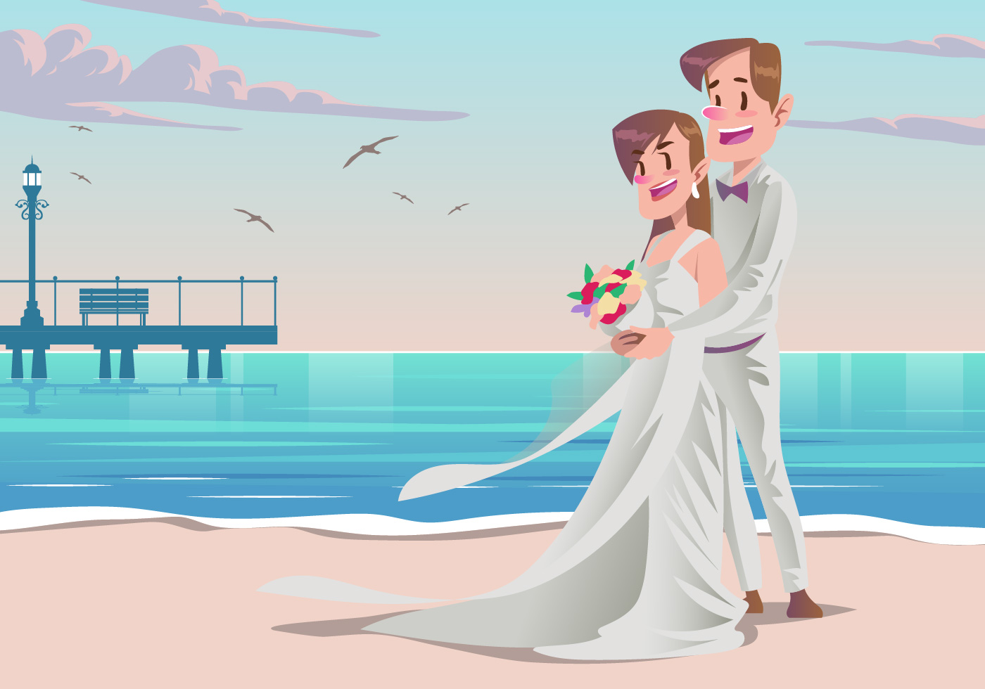 Cute Couple Holding Hand Wallpaper A Couple At Their Beach Wedding Vector Download Free
