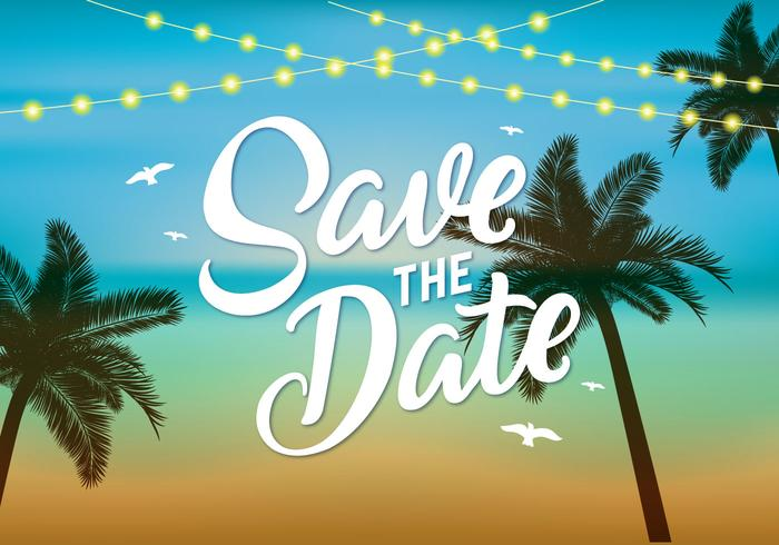 Cute Couple Holding Hand Wallpaper Beach Wedding Save The Date Vector Download Free Vector