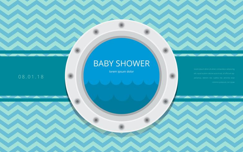 Porthole Baby Shower Template Invitation Vector - Download Free