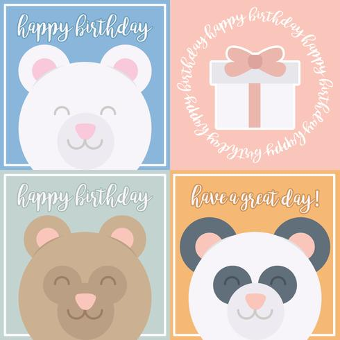 Vector Cute Bear Birthday Cards - Download Free Vector Art, Stock - birthday greetings download free