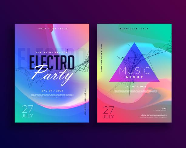 electro music colorful party event flyer template design - Download