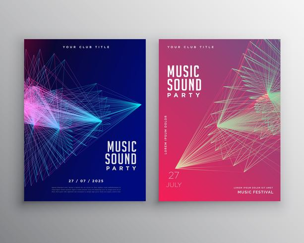 abstract music flyer template design with abstract lines mesh - music flyer template