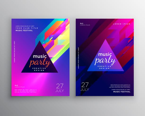 abstract club music party flyer template design - Download Free - party brochure template