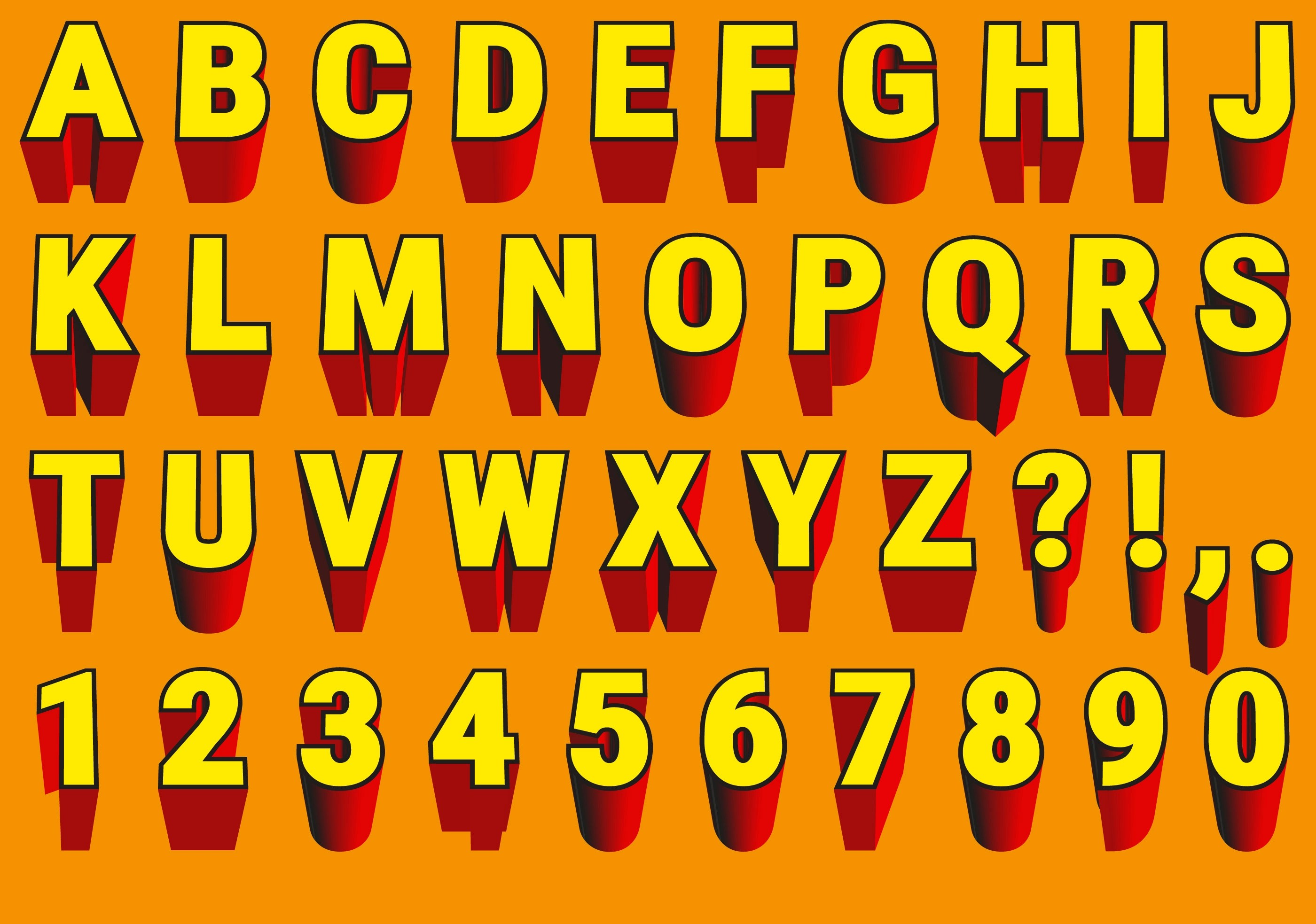 3d Schrift Abc Vector Red And Yellow 3d Font Download Free Vector Art Stock