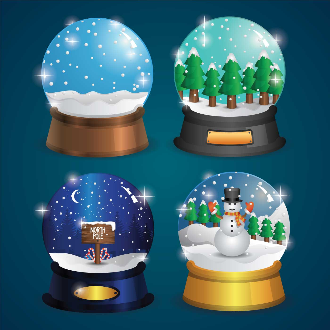 House Inside Decoration Realistic Snow Globe Vector - Download Free Vector Art