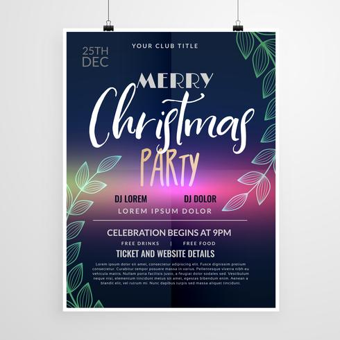 beautiful christmas party flyer design template - Download Free