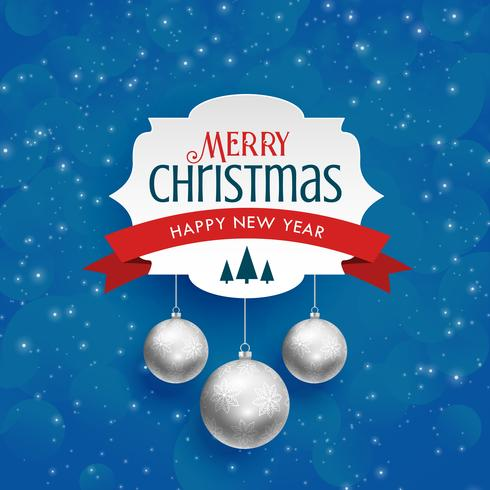 merry christmas background with silver hanging balls - Download Free