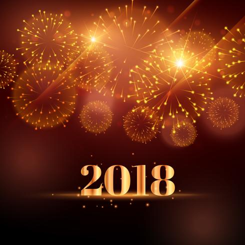 happy new year fireworks background for 2018 - Download Free Vector